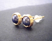 Lapis Lazuli Gold Stud Earrings, Wire Wrapped
