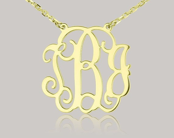Monogram necklace - 1.25 inch Personalized Monogram - Sterling silver 18k gold plated