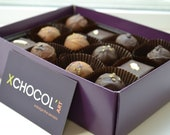 Valentines Truffles made with Organic and Fair Trade Chocolate 24 Hand Made Gift Box - XchocolArt