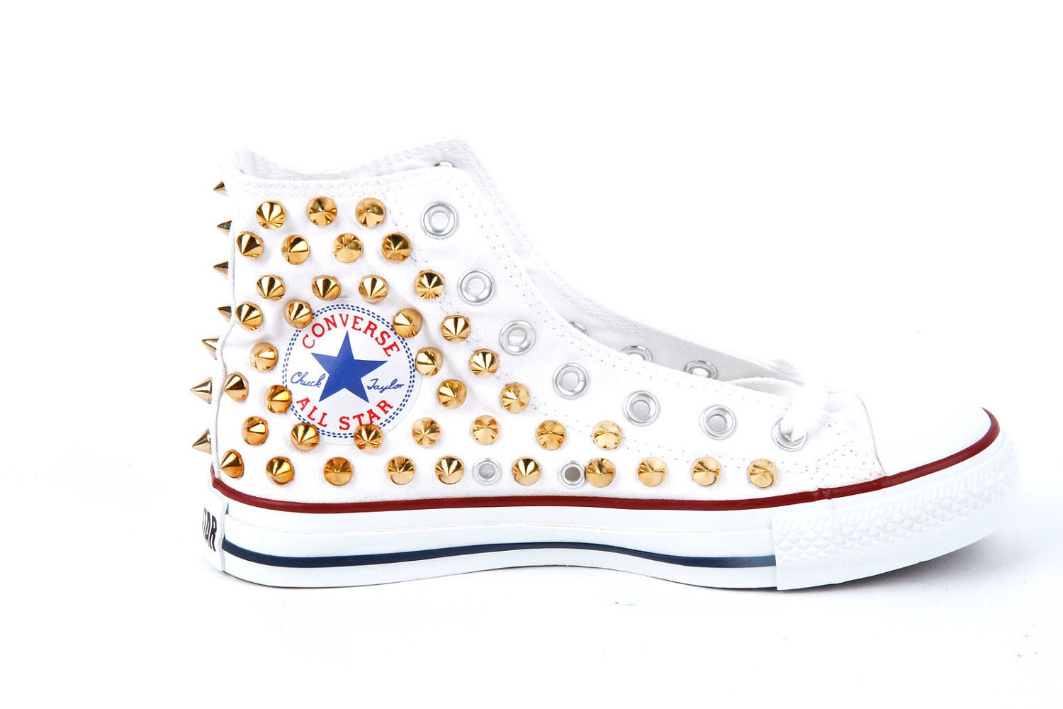 12c6faf84bfe ORIGINAL CONVERSE ALLSTAR CHUCK TAYLOR HIGH TOP STUDDED CONVERSE STUD GOLD  SPIKE ON WHITE SHOES on The Hunt