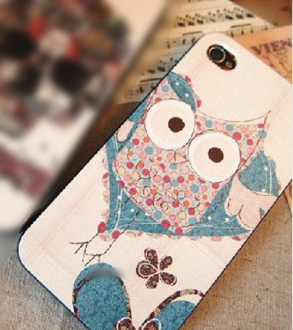 Iphone 4/4s Cute Night Owl with Blue Heart Phone Cases