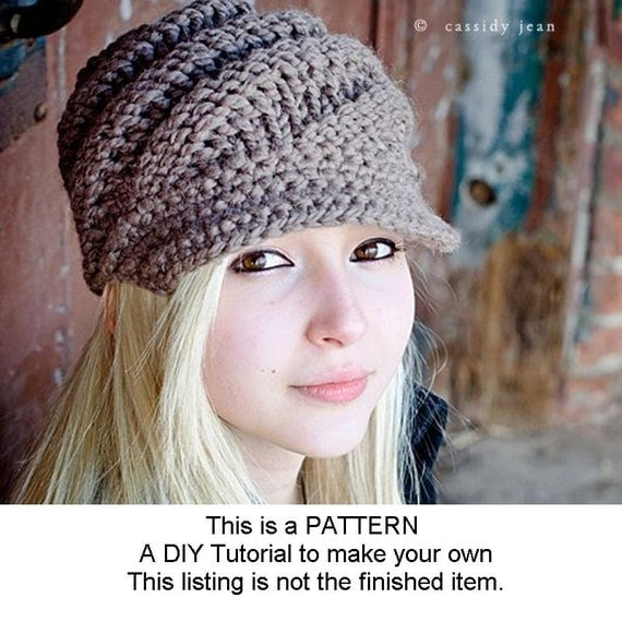 Digital Knitting Pattern PDF - Knit Hat Knitting Pattern PDF for The Swirl Beanie Hat With and Without Visor - Winter Accessories