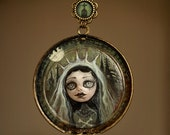 The Bride, Unknown ghost. Art doll cameo pendant necklace. Gothic horror story. Black spooky art by KarolinfFelix and Whobyfire