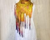 Nuno Felt Scarf /Wrap Hand Dyed Chartreuse Ultra Thin Silk Art Scarf