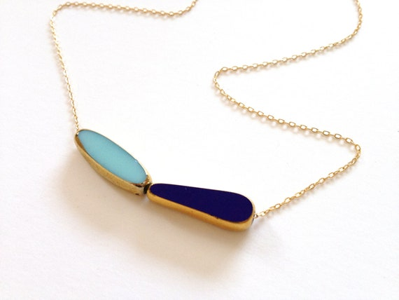 Navy Sky Necklace // blue 24k gold, long chain // delicate jewelry by LilahV