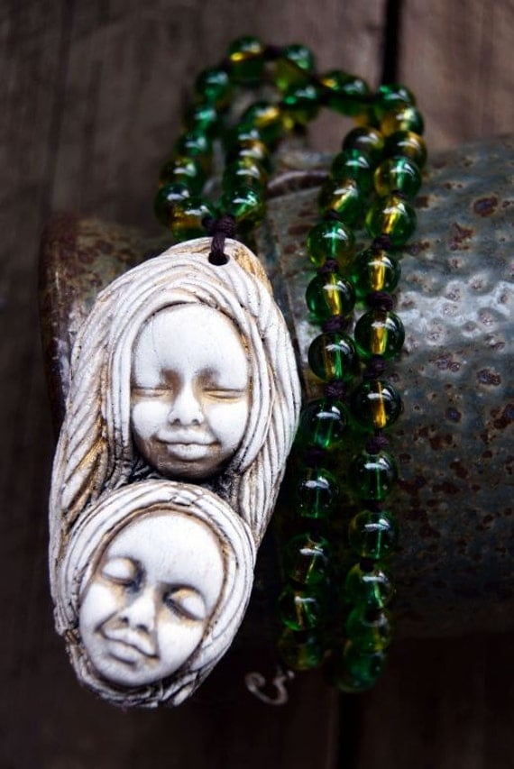 Handcrafted Clay Necklace with Green and Yellow Glass Beads