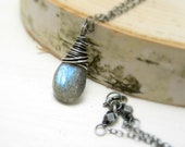 Labradorite Necklace, Oxidized Sterling Silver Wire Wrapped Blue Flash Labradorite Necklace - NaturallySterling