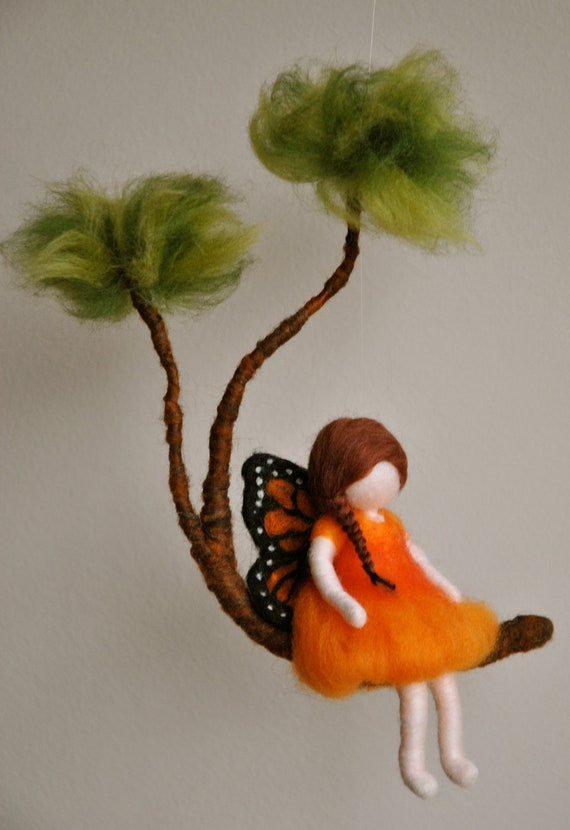 Girls Mobile Waldorf inspired needle felted : Monarch Butterfly fairy in a branch
