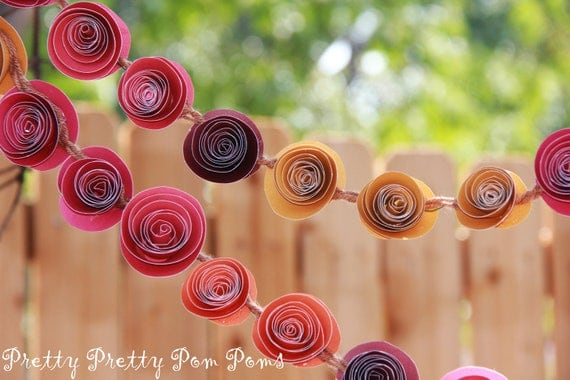 Wedding Garland Paper Flowers Fall Colors 9 Feet - Wedding Decorations