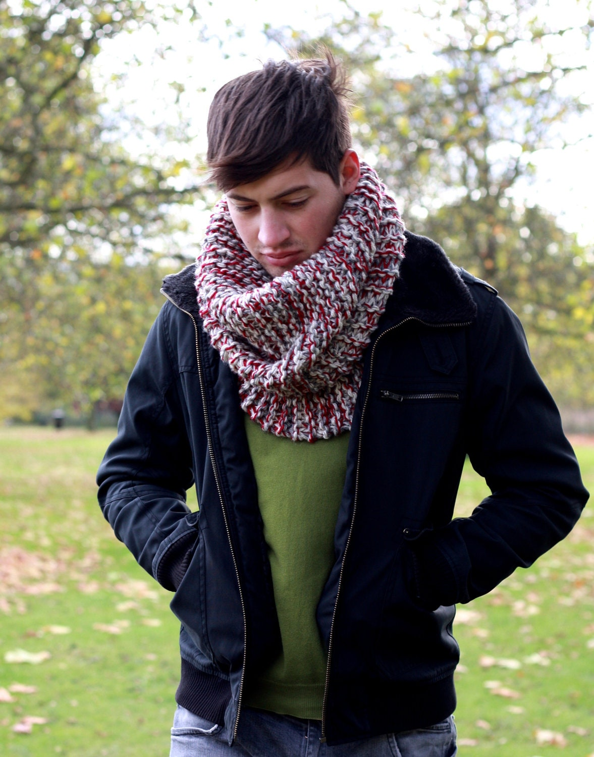 Mens Cowl Neck Scarf Chunky Oversized Cowl Neckwarmer Fall Winter  Cowl Neck Scarves Men