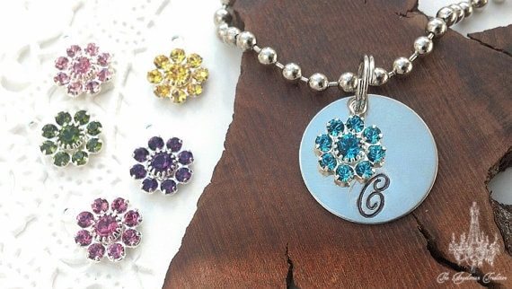 Custom Monogram Necklace With Crystal Flower Color of Choice