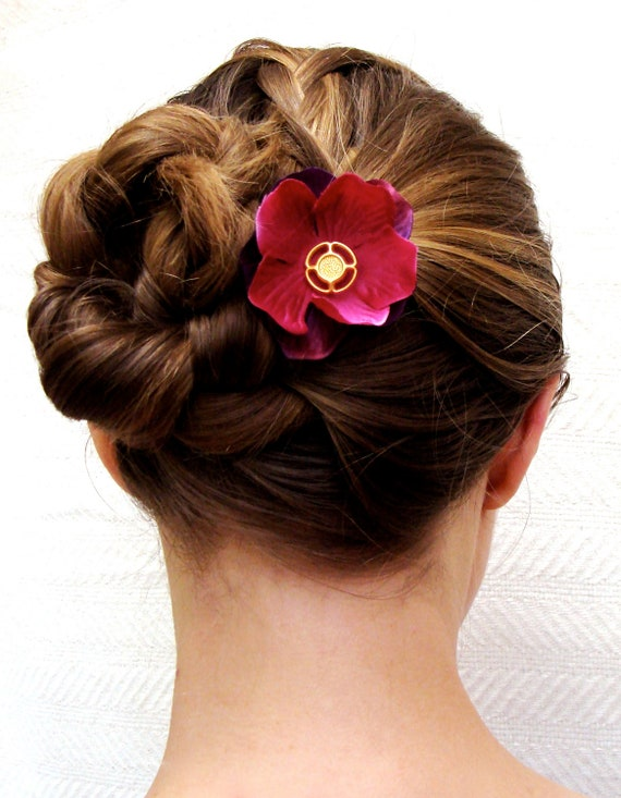 Hair Accessory with vintage center on floral fascinator