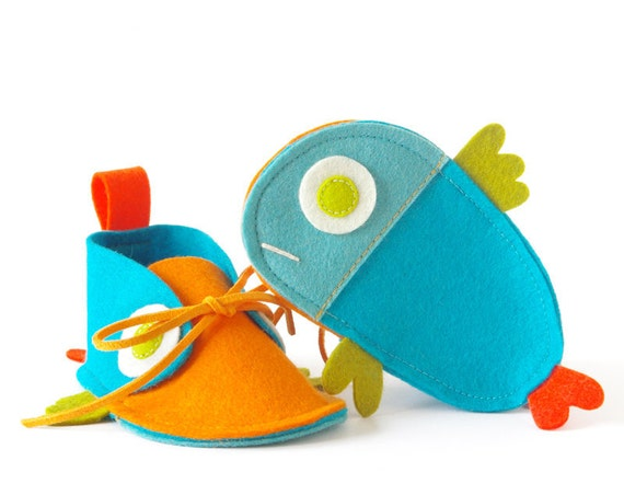 Boys & girls baby shoes - turquoise orange newborn baby booties, Guppies kids slippers Size 2, unisex shower gift