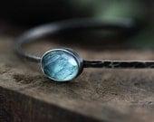 oxidized rustic aquamarine cuff - eco friendly - sterling silver bracelet - ready to ship - AndreaBonelliJewelry