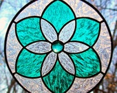 Stained Glass Teal Green Star Flower Mandala Suncatcher - LivingGlassArt