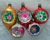 Poland Christmas Ornaments Fancy Indents Lot of 5 Vintage - vintagegifts