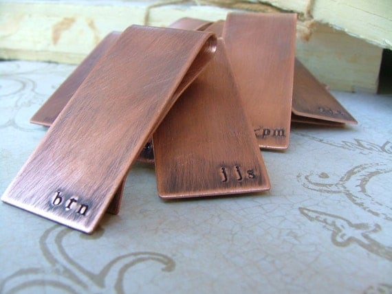 Groomsmen Gift Pack Set of 5 Custom Hand Stamped Copper Money Clips - by MyBella