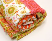 "Baby quilt- "" Sunshine Girl""  in pink, orange, yellow, green, nursery blanket, ready to ship - moonspiritstudios"