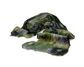 Cobweb Felt Scarf Wool Scarf in Moss Green, Gray, Grey, and Black with Embedded Ribbon - Fibernique