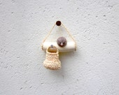 Miniature bird on a twig with mini basket , native wall art - plad