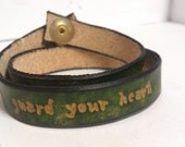 Pantone Color of the Year 2013 Emerald - Guard your heart Proverbs - Leather Quote Wrap Bracelet in Moss Green - Stamped Flowers - TheRogueFae