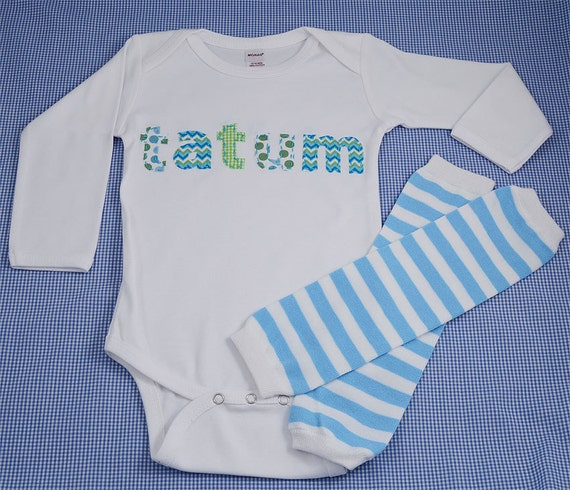 Hand Appliqued Personalized Infant Baby Boy Onesie & Coordinated Striped Leg Warmer Set