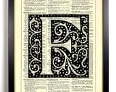 Letter F Block Filigree Typography Repurposed Book Upcycled Dictionary Art Vintage Book Print Recycled Dictionary Page Buy 2 Get 1 FREE