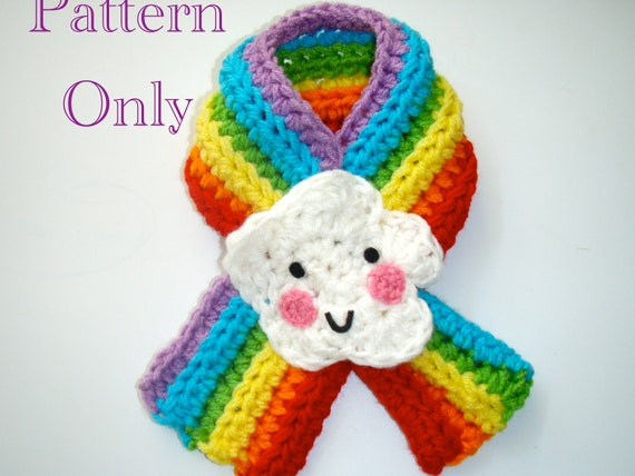 Rainbow Cloud Scarfette Pattern PDF