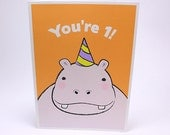 1st Birthday Card - Kids First Birthday Greeting Cards - Hippo - GrizzlyBearGreetings