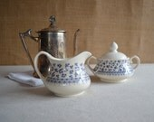 vintage English Ironstone Tableware cream and sugar Provence Blue pattern - MuracaDesignShop