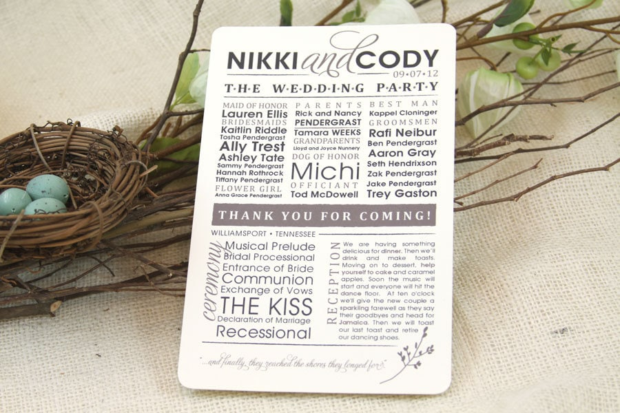 Modern & Rustic Wedding Program Get Started by nestingprojectwed
