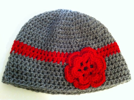 Crochet Womens Hat, Gray and Red Crochet Beanie, Christmas Hat, Flower Hat, Ready To Ship