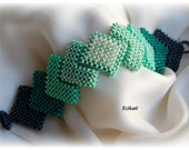 Beaded green seed beaded Right Angle Weave cuff bracelet, beadwoven jewelry, OOAK jewelry