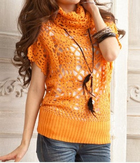 Women sweater lovely hook flower hollow-out sweater Spring Autumn sweater--SW037