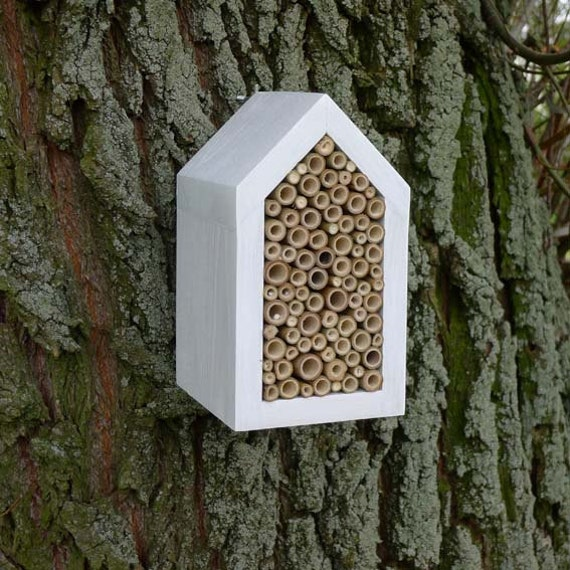 white house for Solitary bee, wild bee house, simple eco friendly design for garden, woodland decoration - made ONLY for a special order