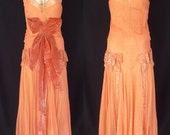 Vintage 20s Flapper Dress - 1920s Gatsby Deep Peach Iridescent Sequins w Velvet Bow & Original Silk Lining Evening Wedding - Size XXS - 2XS - CatseyeVintage
