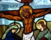 Crucifixion of Jesus Christ Religious Stained Glass Window Panel