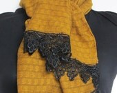 Warm Cotton & Wool Blend Scarf with Lace - Dark Mustard Yellow paisley printed with Black Lace
