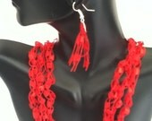 Free US Shipping: Red Crocheted Necklace & Earrings Gift Set with Gift Box