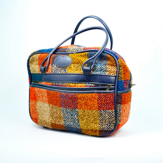 Vintage 1960's BRIGHT PLAIDS Carry-on Tote Bag
