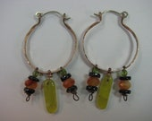 Copper Boho Hoops with Green Agate and Carnelian and Garnet Dangles