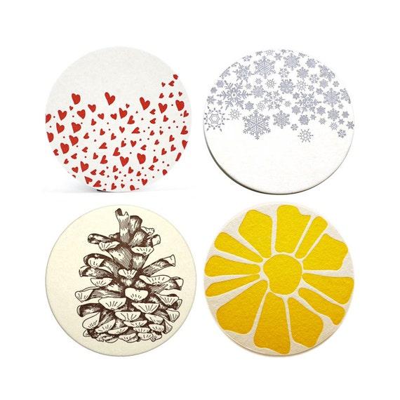 Seasonal Letterpress Coasters (set of 8 for any season), Ready to Ship