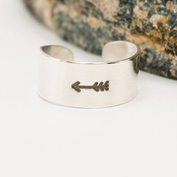 Toe Ring Arrow Silver Adjustable Wide Band Toering by dashery :  vacation jewelry knuckle ring adjustable