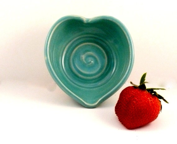 Turquoise Blue Ceramic heart shaped trinket dish IN STOCK - teabag holder - minimalist decor