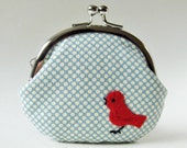 Coin purse red bird on pale blue polka dots - oktak