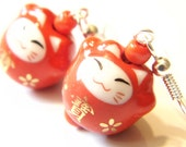 Red Neko Cat Porcelain Kawaii Earrings Beaded Jewellery