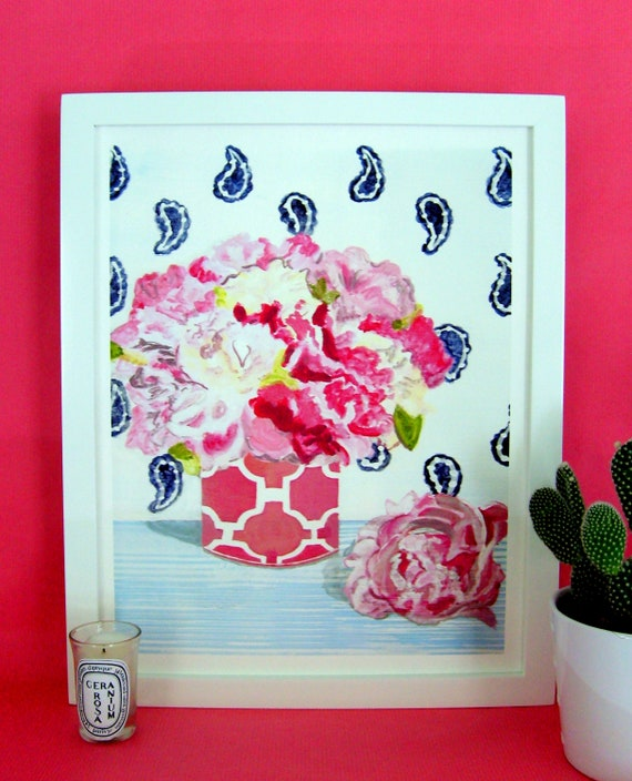 PEONIES and PAISLEY Print