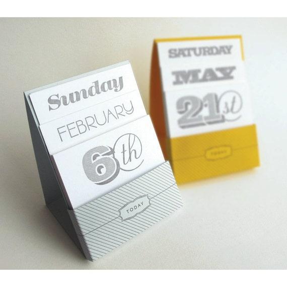 Letterpress Perpetual Desk Calendar
