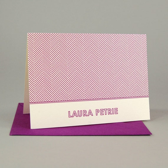 HERRINGBONE Custom Notecard Set of 16 - Personalized Stationery / Personalized Stationary