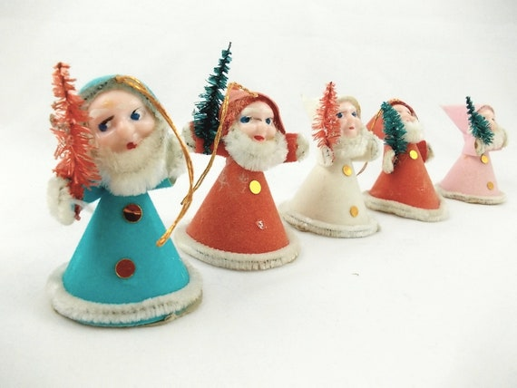 Kitschy Mid Century Christmas Tree Ornaments : Elf, Santa Claus, Bottle Brush Trees, Japan
